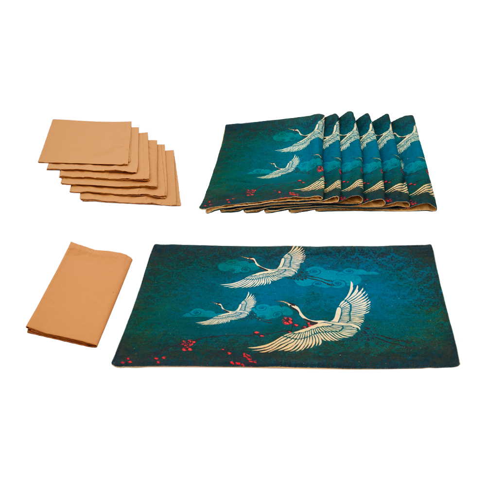 Legend of the Cranes Table Mat & Napkin Set
