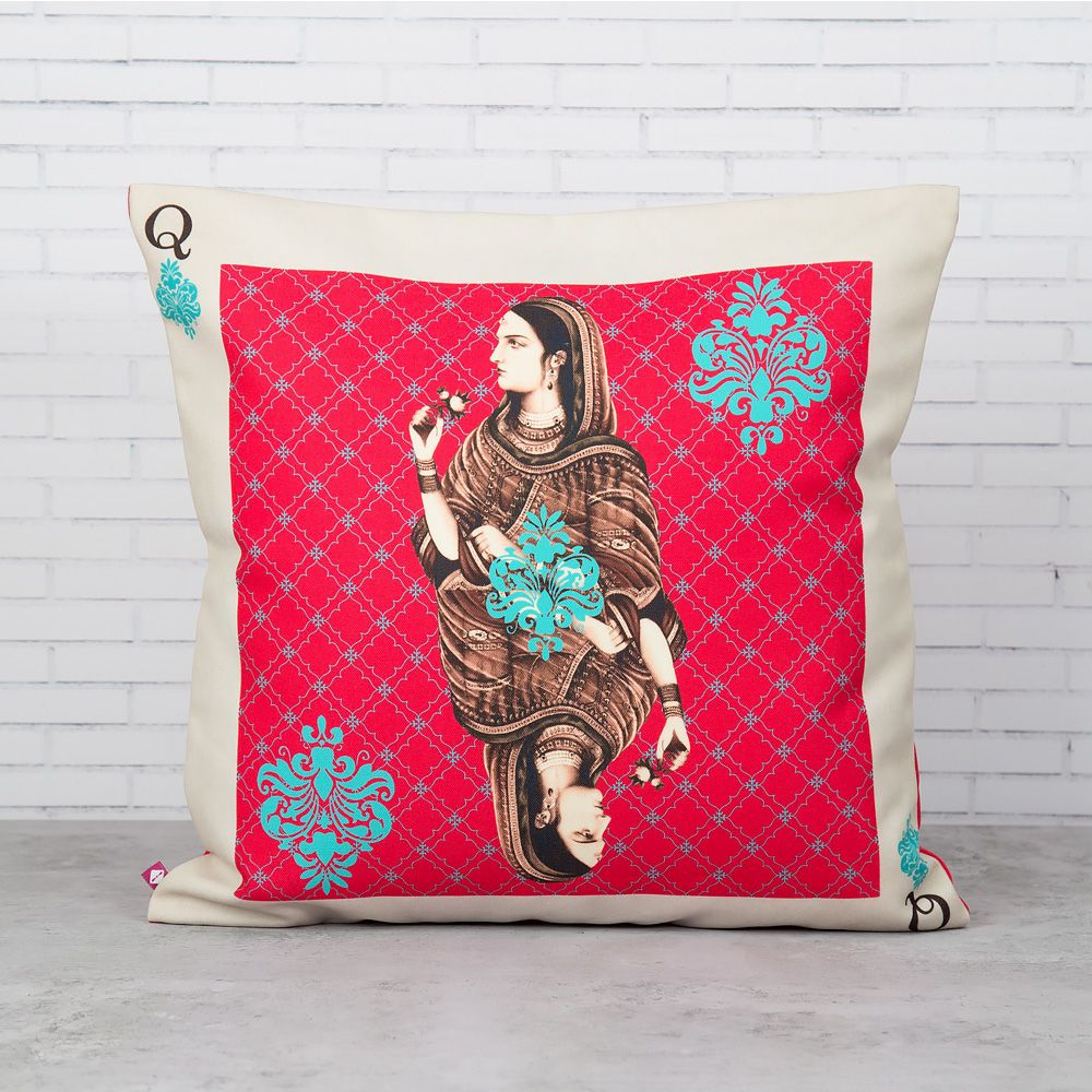 Mughal Queen Playing card Poly Canvas Cushion Cover
