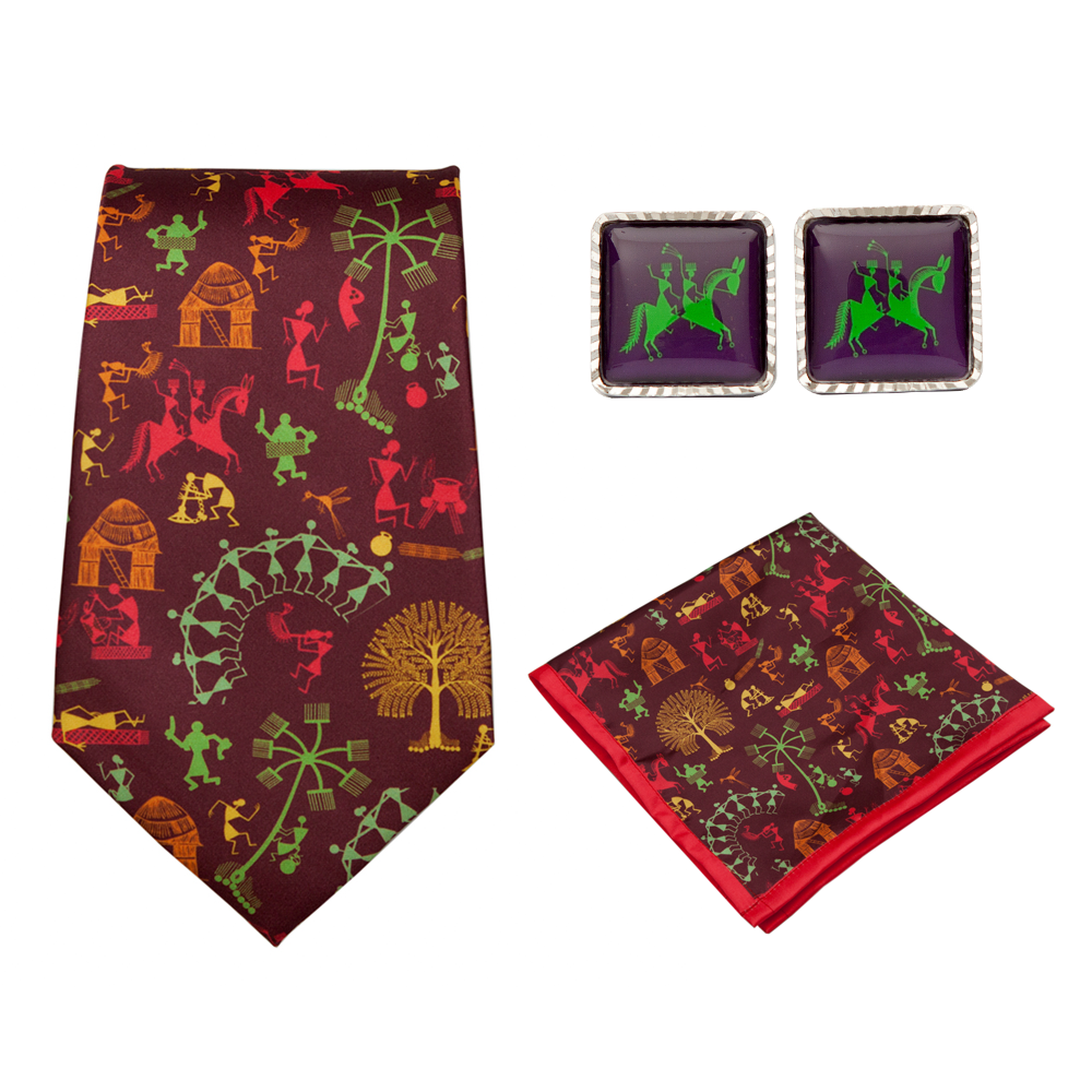 Warli Village Fashion Ties-Pocket Squares-Cufflinks Hampers