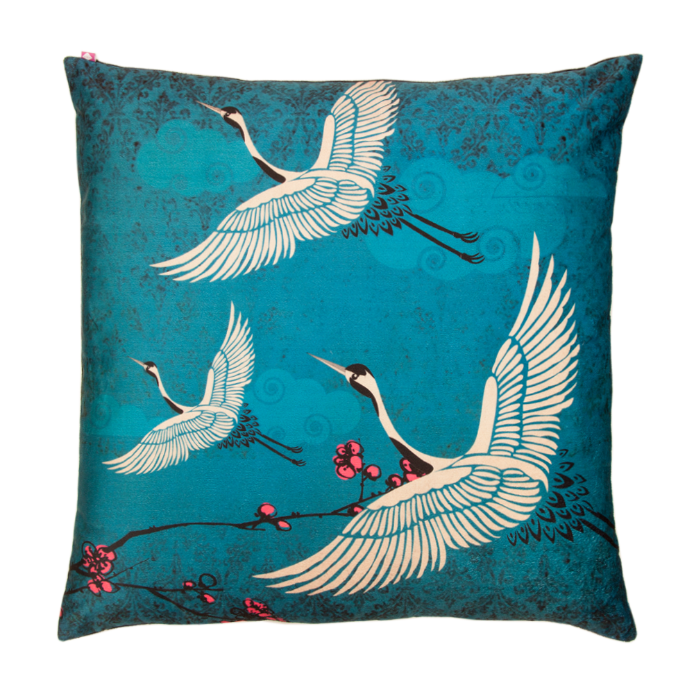 Legend of the Cranes Poly Velvet Cushion Cover