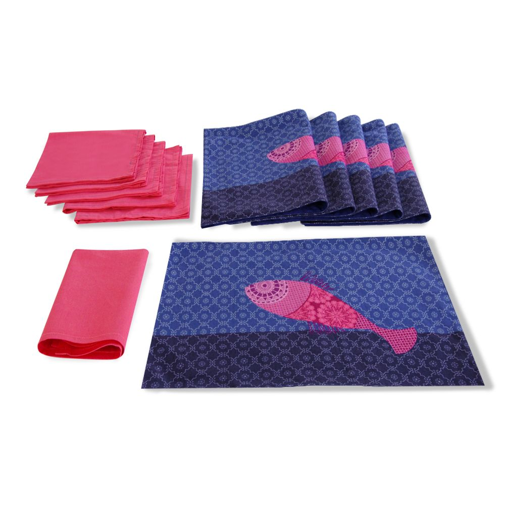 Colourful Fish Table Mat and Napkin(Set of 6)