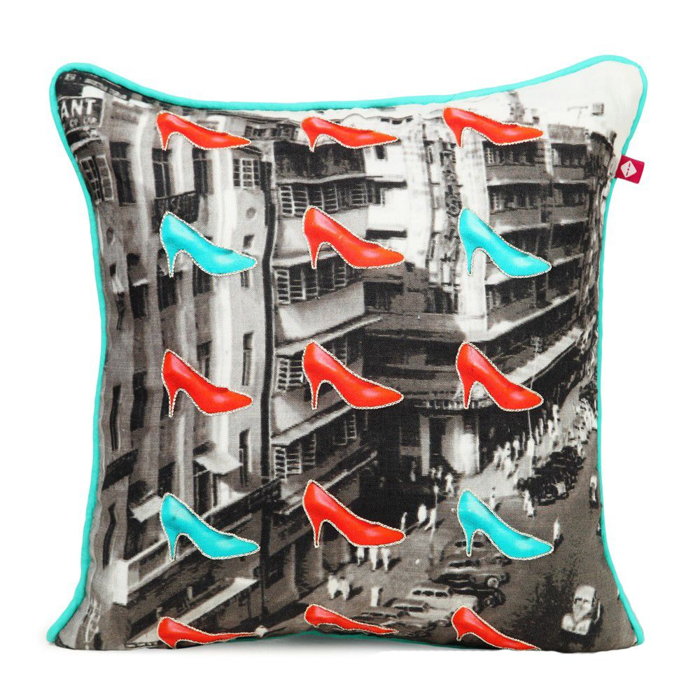 Stilettos Linen with poplin Back Cushion Cover