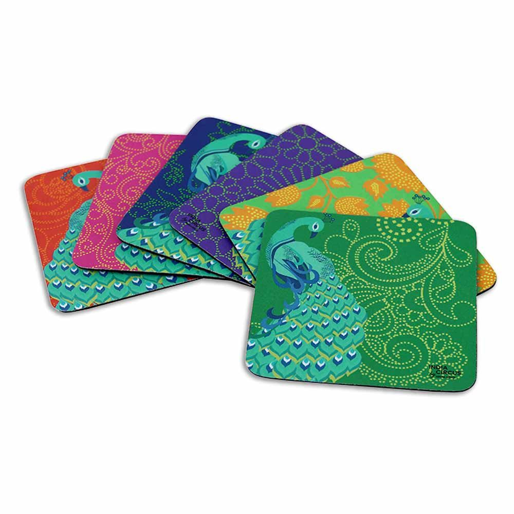 Kuheli Floral Peacock Dance Rubber coasters - (Set of 6)