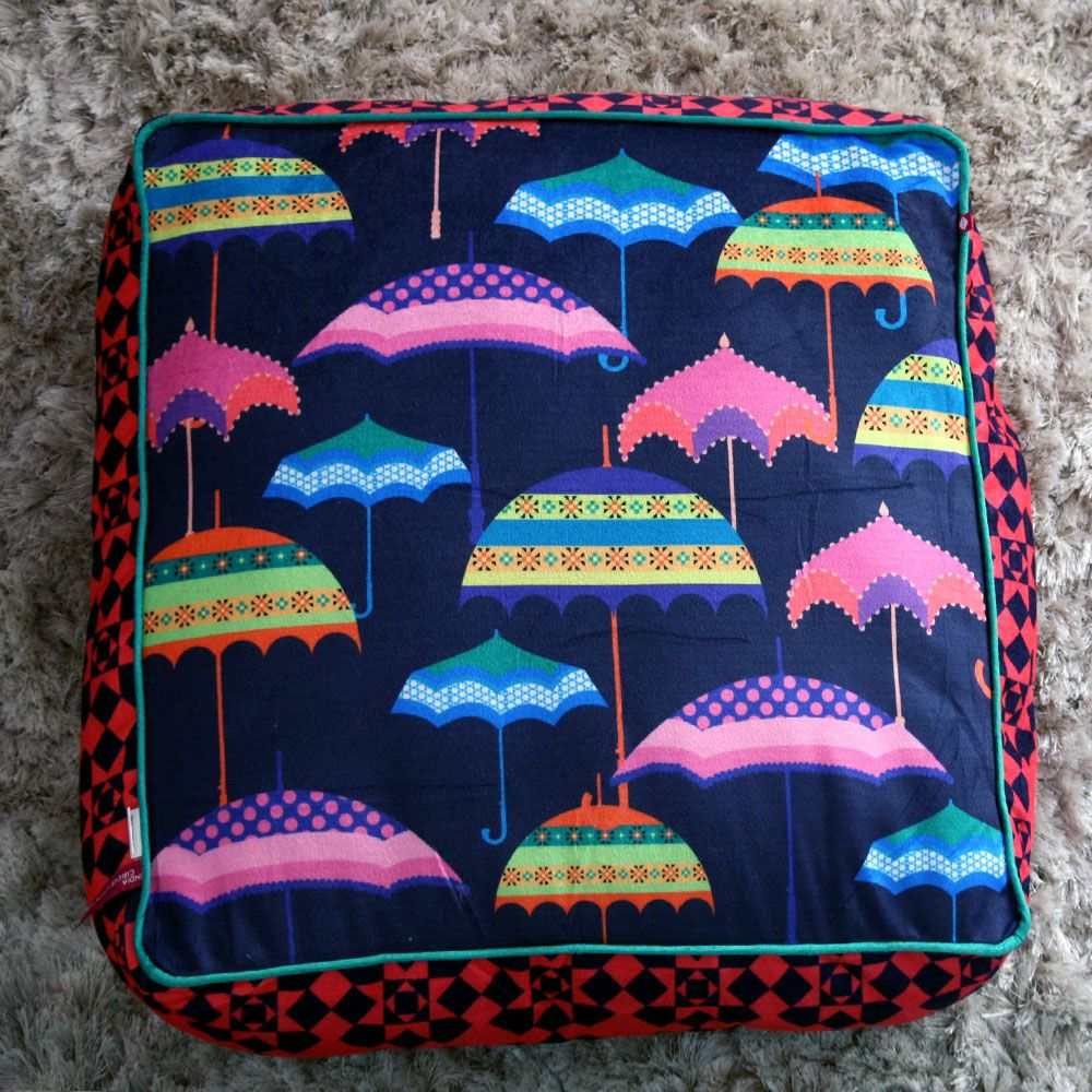 Jalebi Umbrellas Floor Cushion Cover