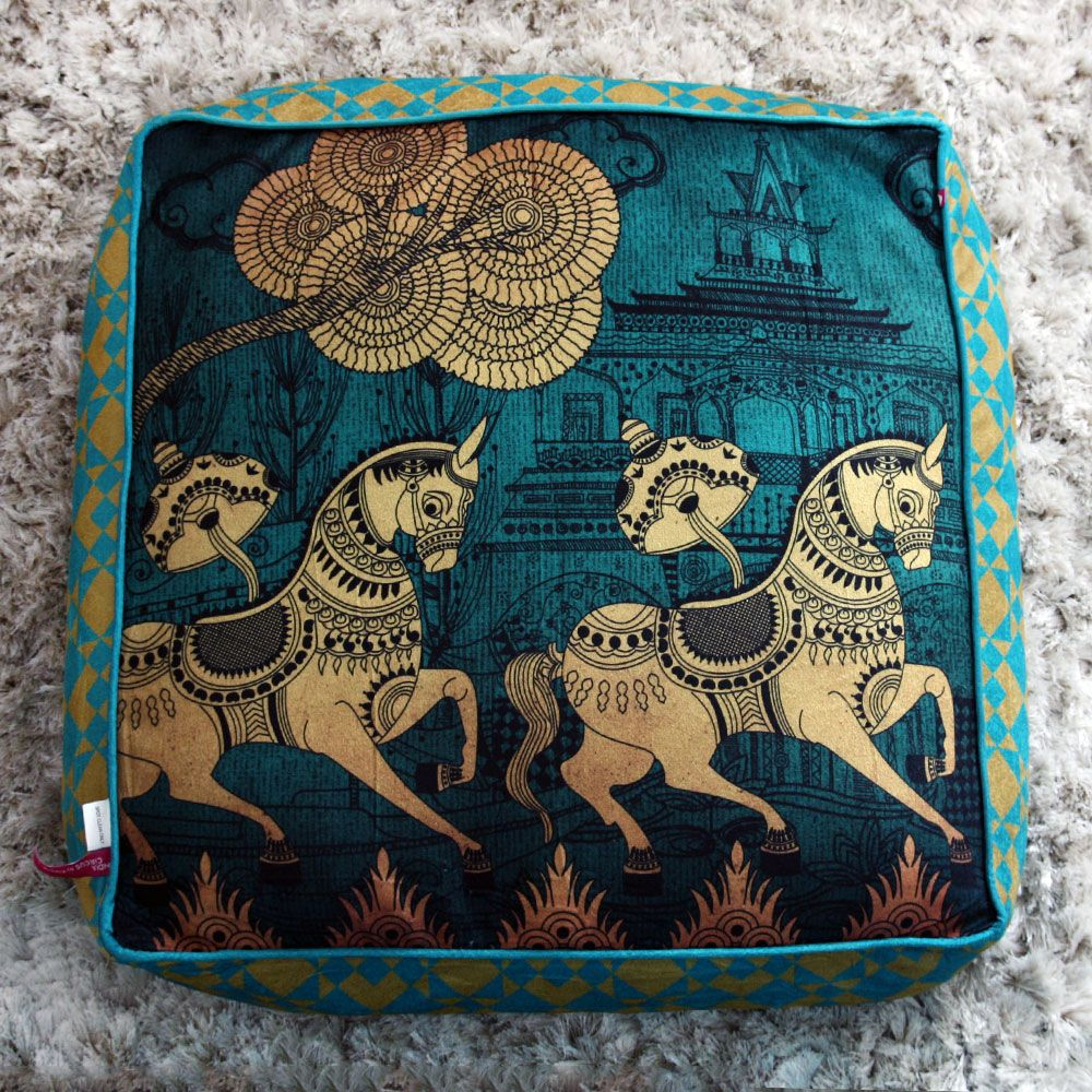 Kuheli Golden Gallop Floor Cushion Cover