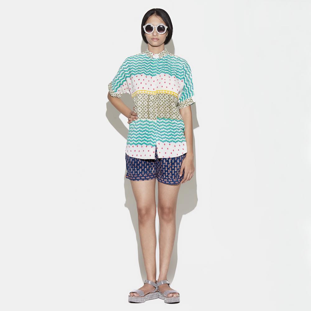 JODI Cotton Hand-blocked Multi-print Shirt