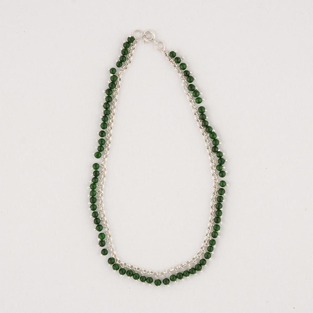 Silver Green Anklet