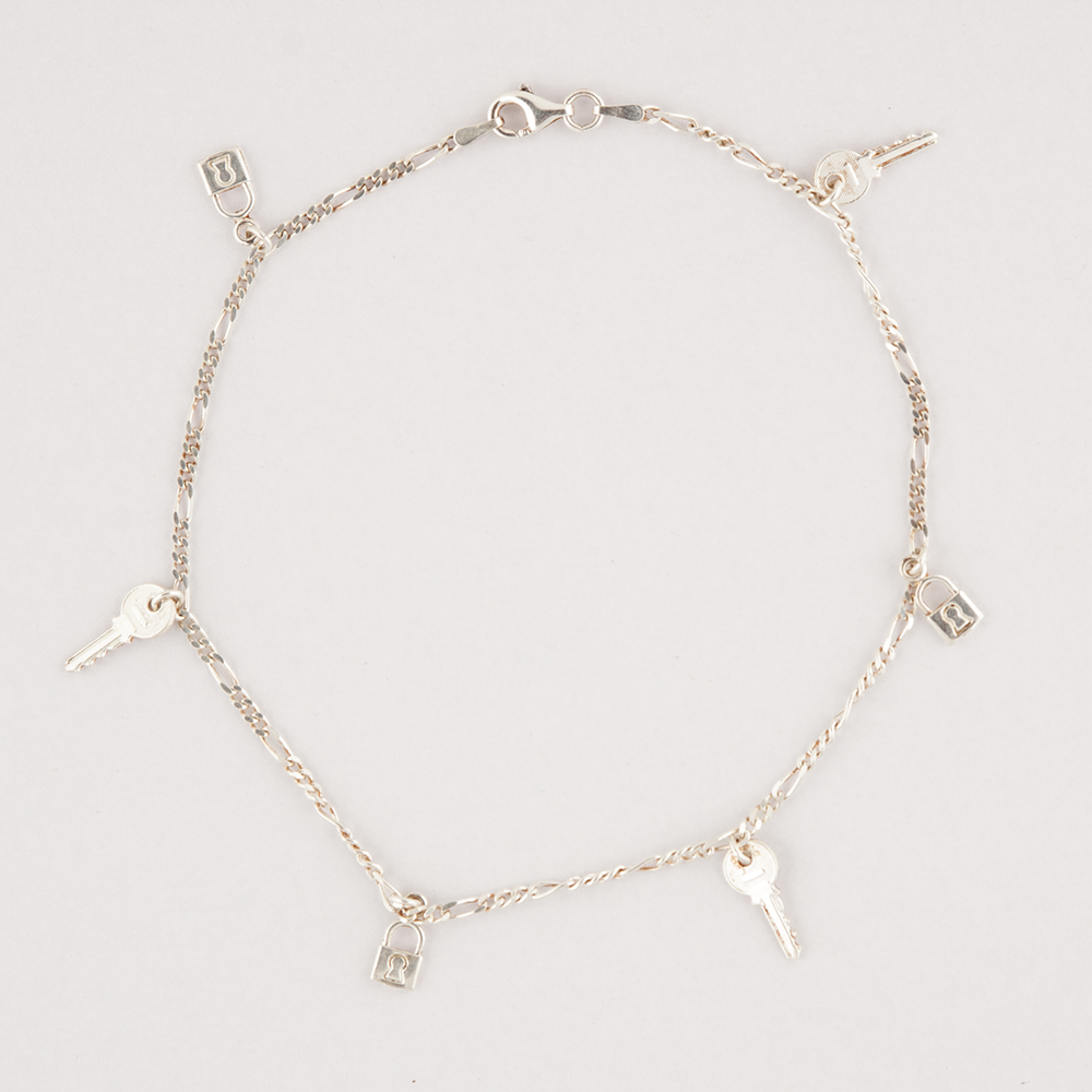 Silver Key & Chain Anklet