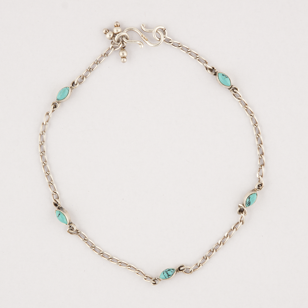 Silver & Turqouise Anklet