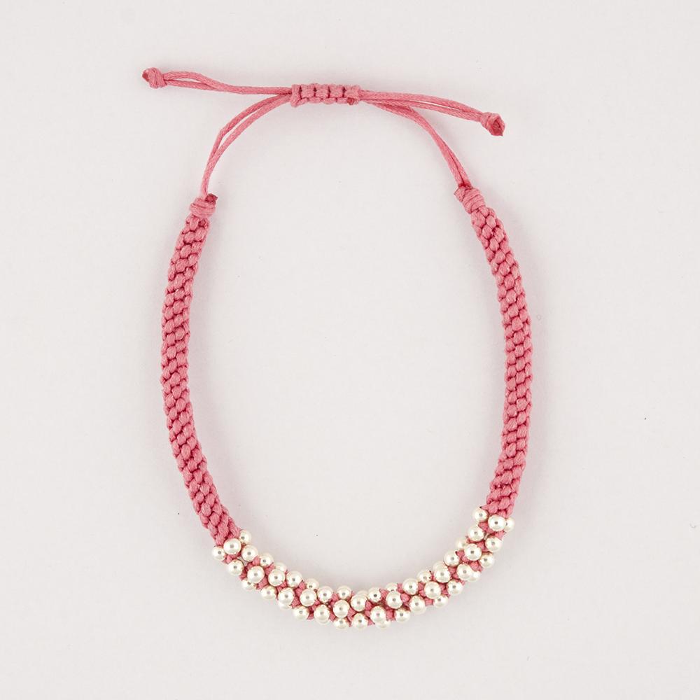 Silver Bead Pink Bracelet