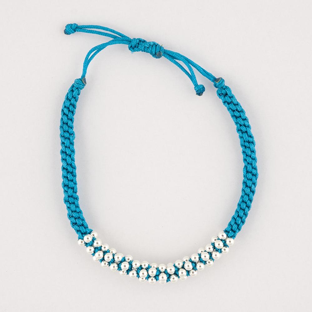 Silver Bead Blue Bracelet