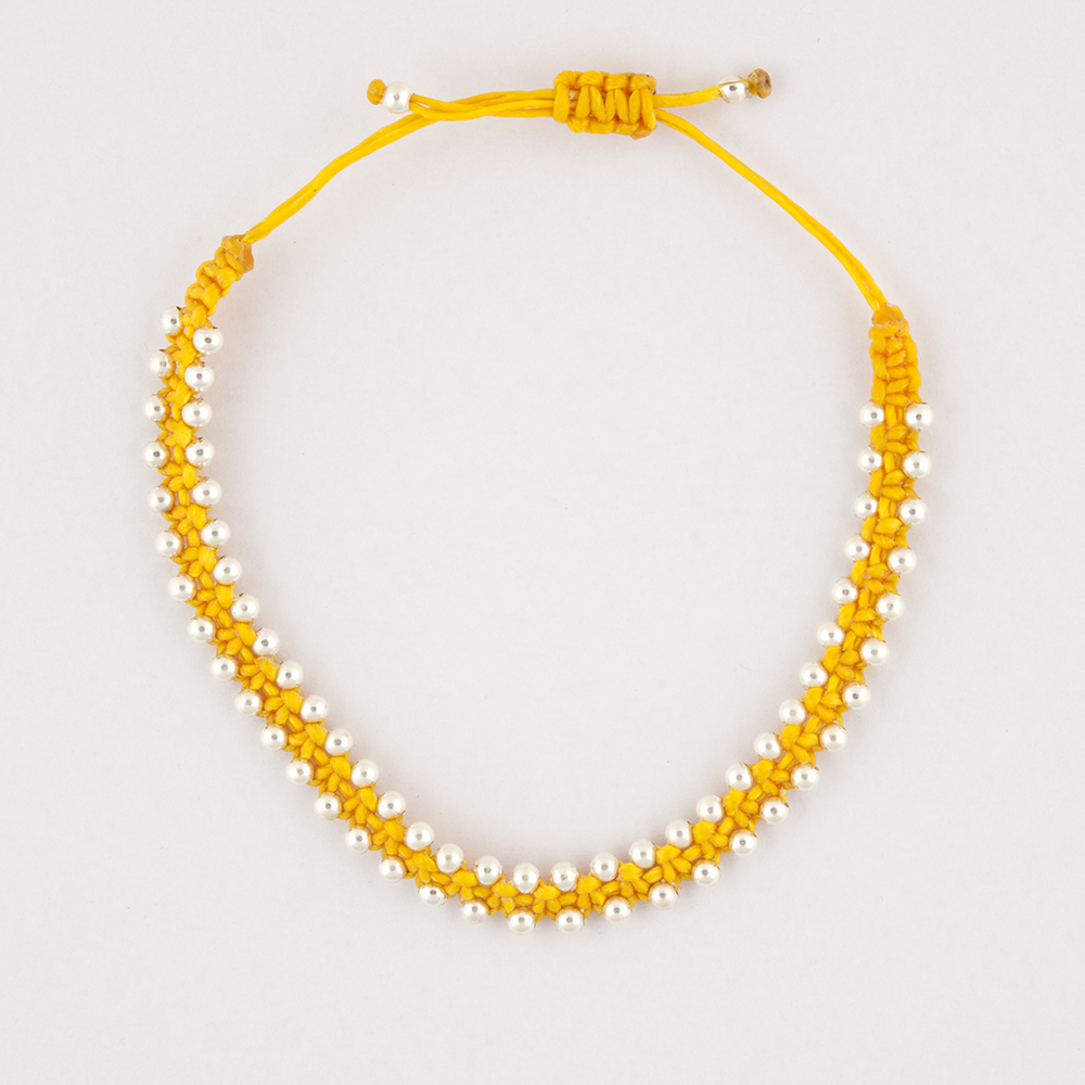 Silver Bead Yellow Bracelet