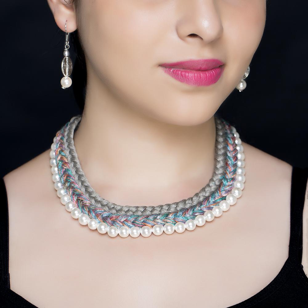 Grey Braided Silk Pearl Necklace Set