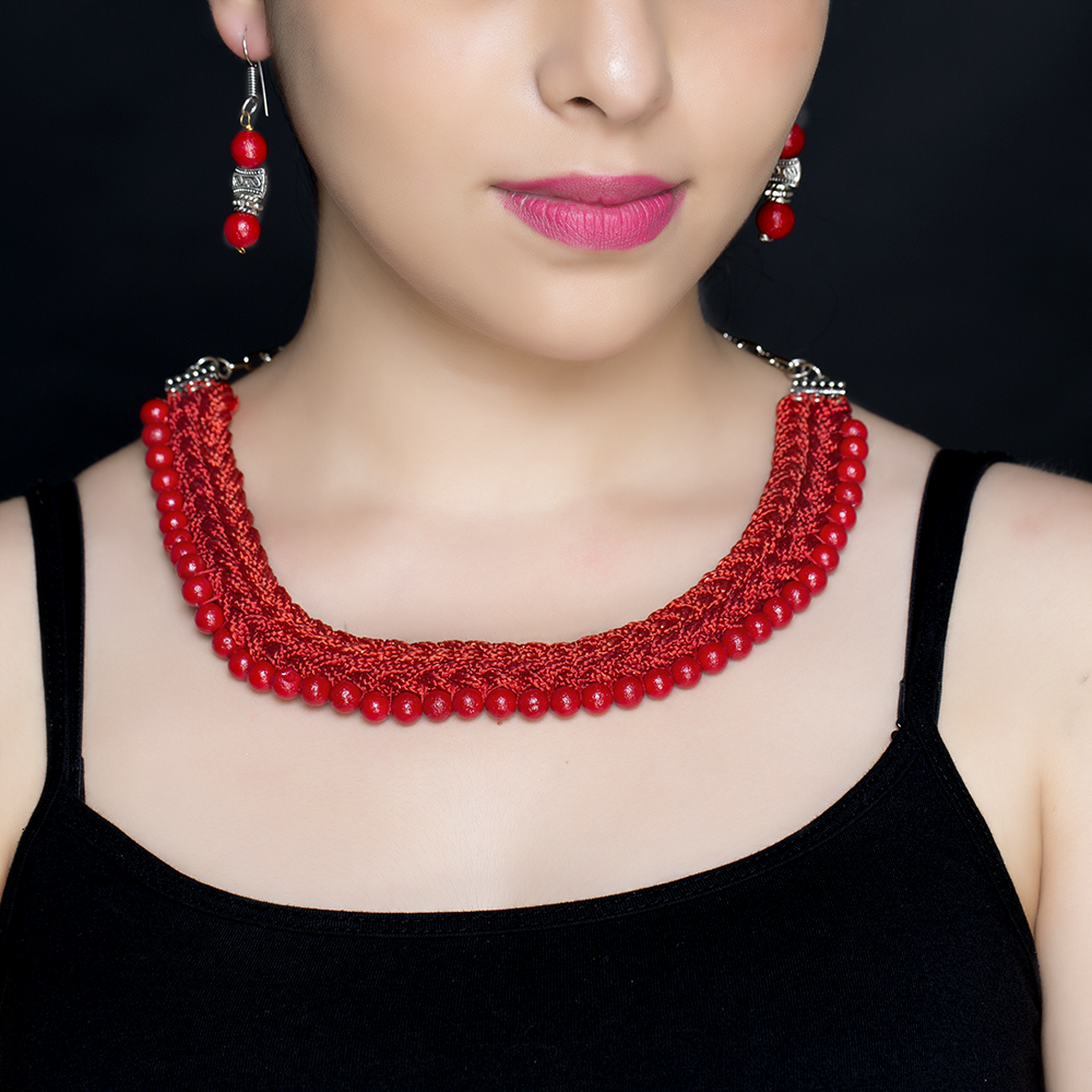 Red Braided Silk Beaded Necklace Set