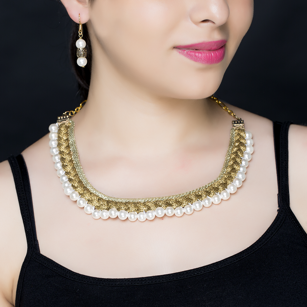 Bronze Braided Silk Pearl Necklace Set