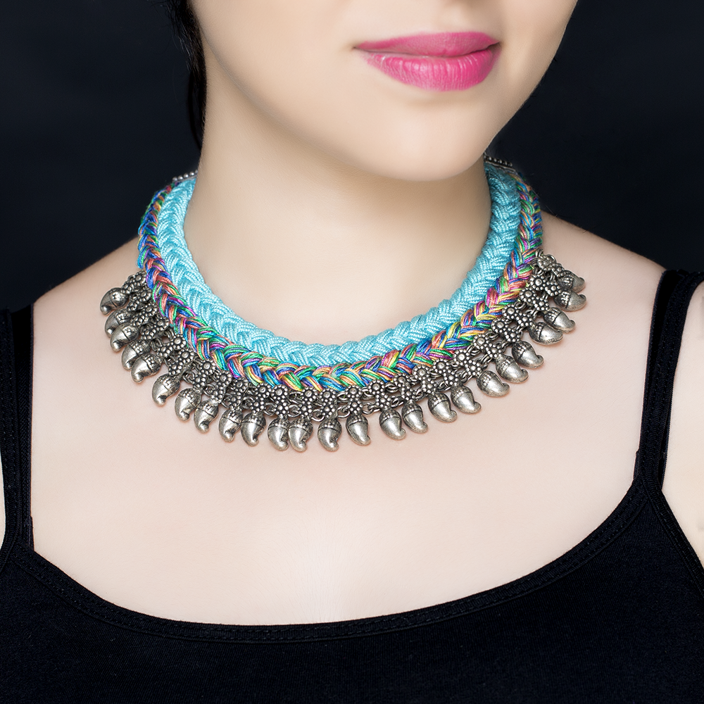 Blue Braided Silk Silver Necklace