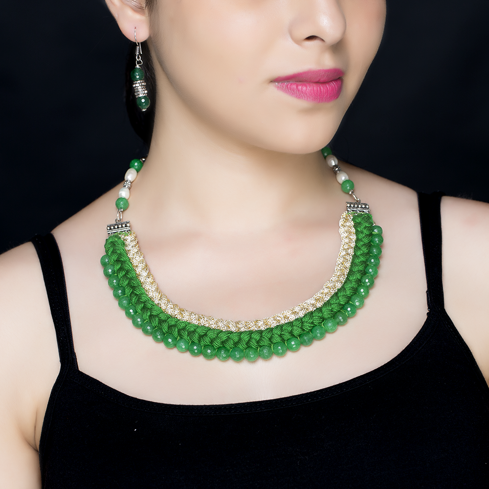 Biege Green Braided Silk Beaded Necklace Set