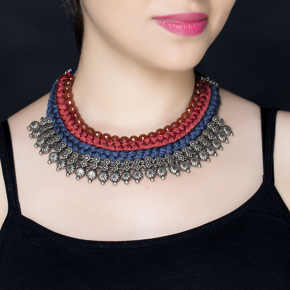 Red Blue Braided Silk Bead Silver Necklace