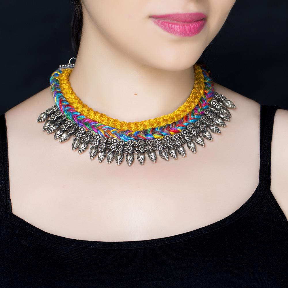 Orange Braided Silk Silver Necklace