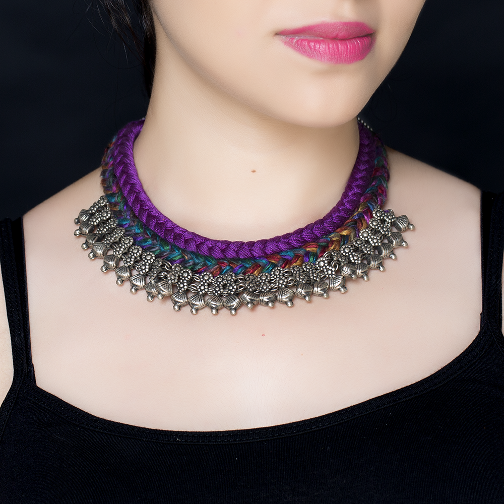 Purple Braided Silk Silver Necklace