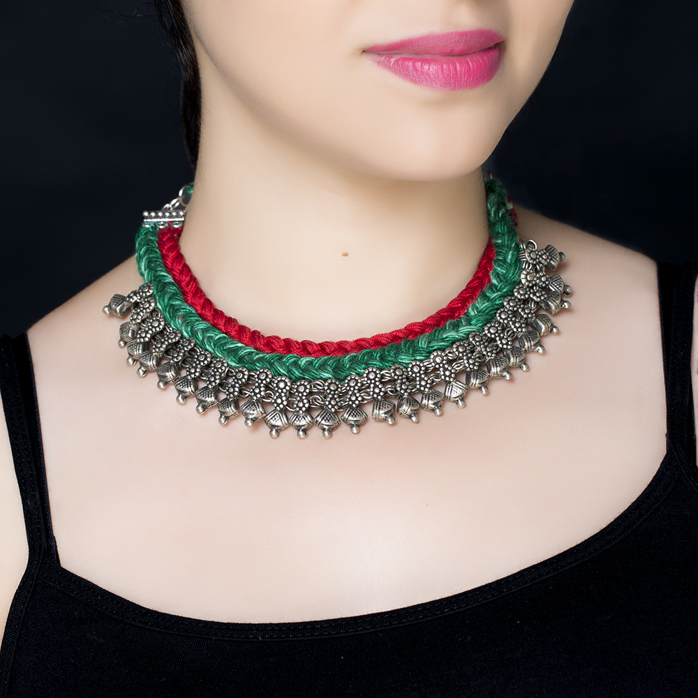 Red Green Braided Silk Silver Necklace