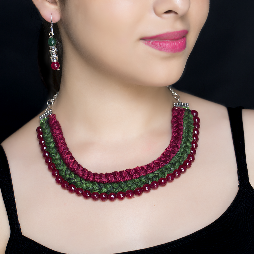 Maroon Braided Silk Beaded Necklace Set