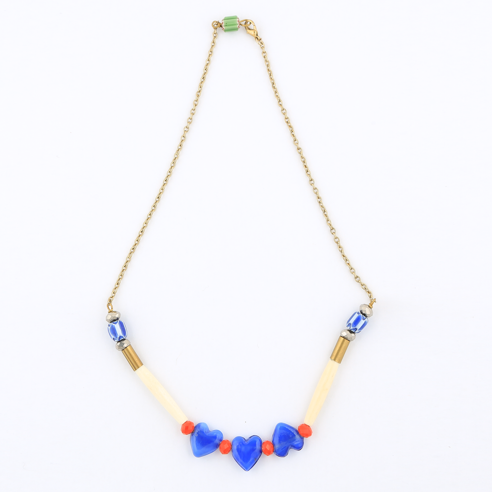Handcrafted Brass Pipe & Beads Necklace