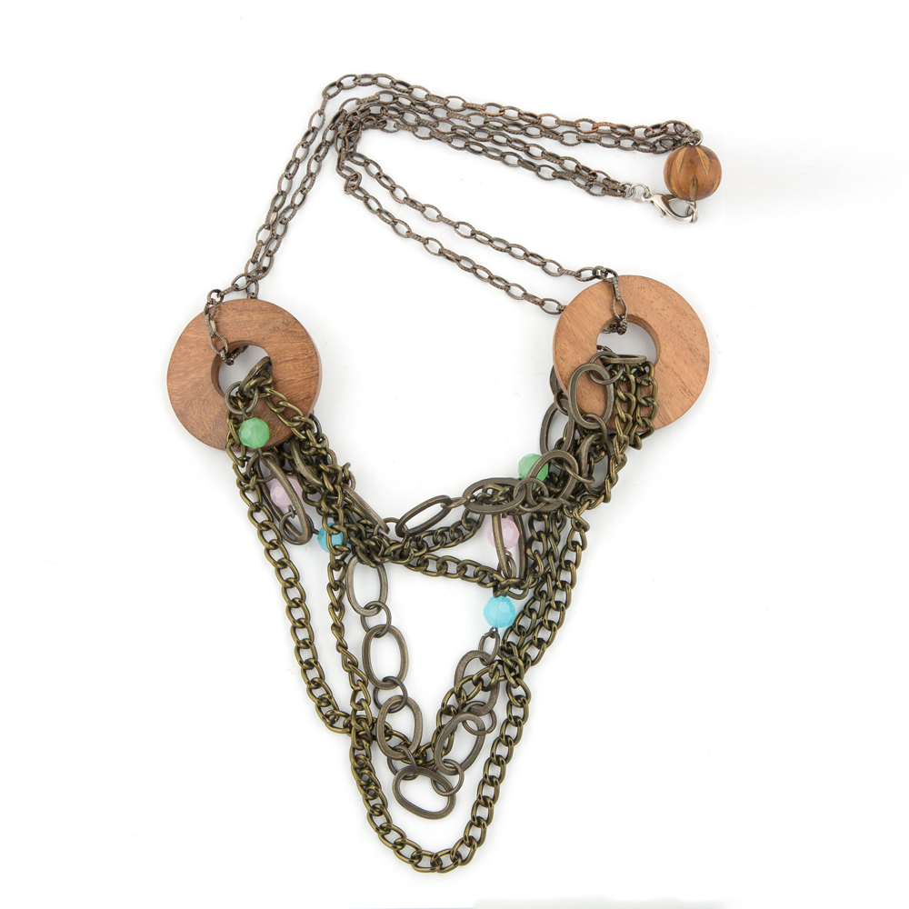 Handcrafted Brass Chain & Bead Necklace