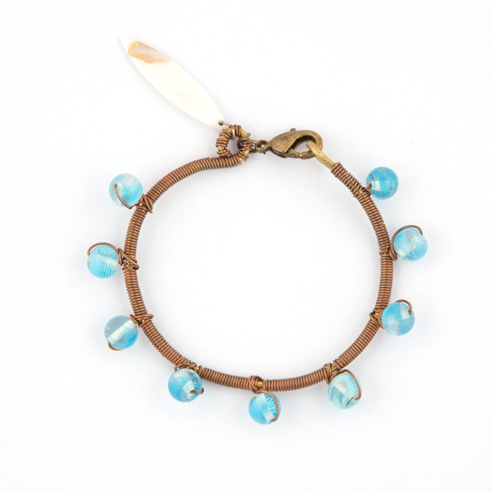 Handcrafted Copper & Light Blue Bead Bracelet