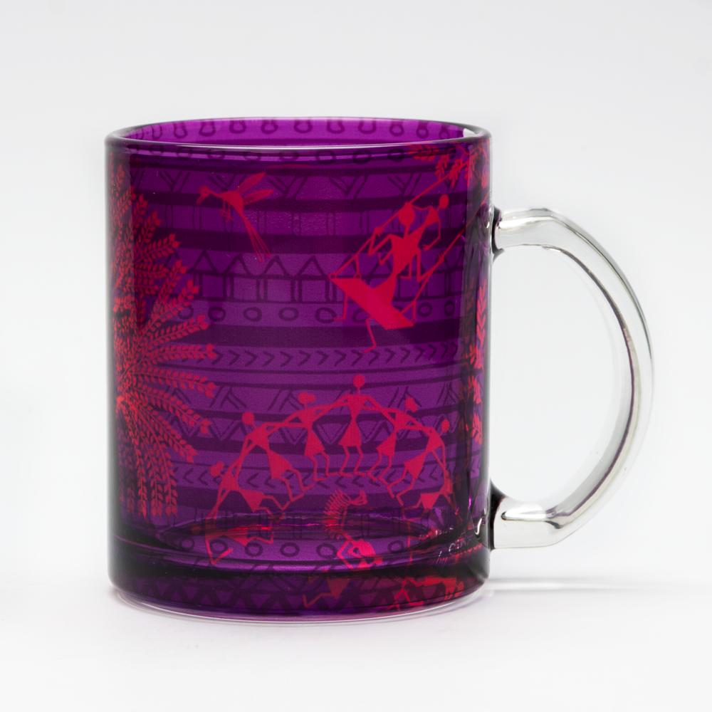 Warli Village Glass Mug