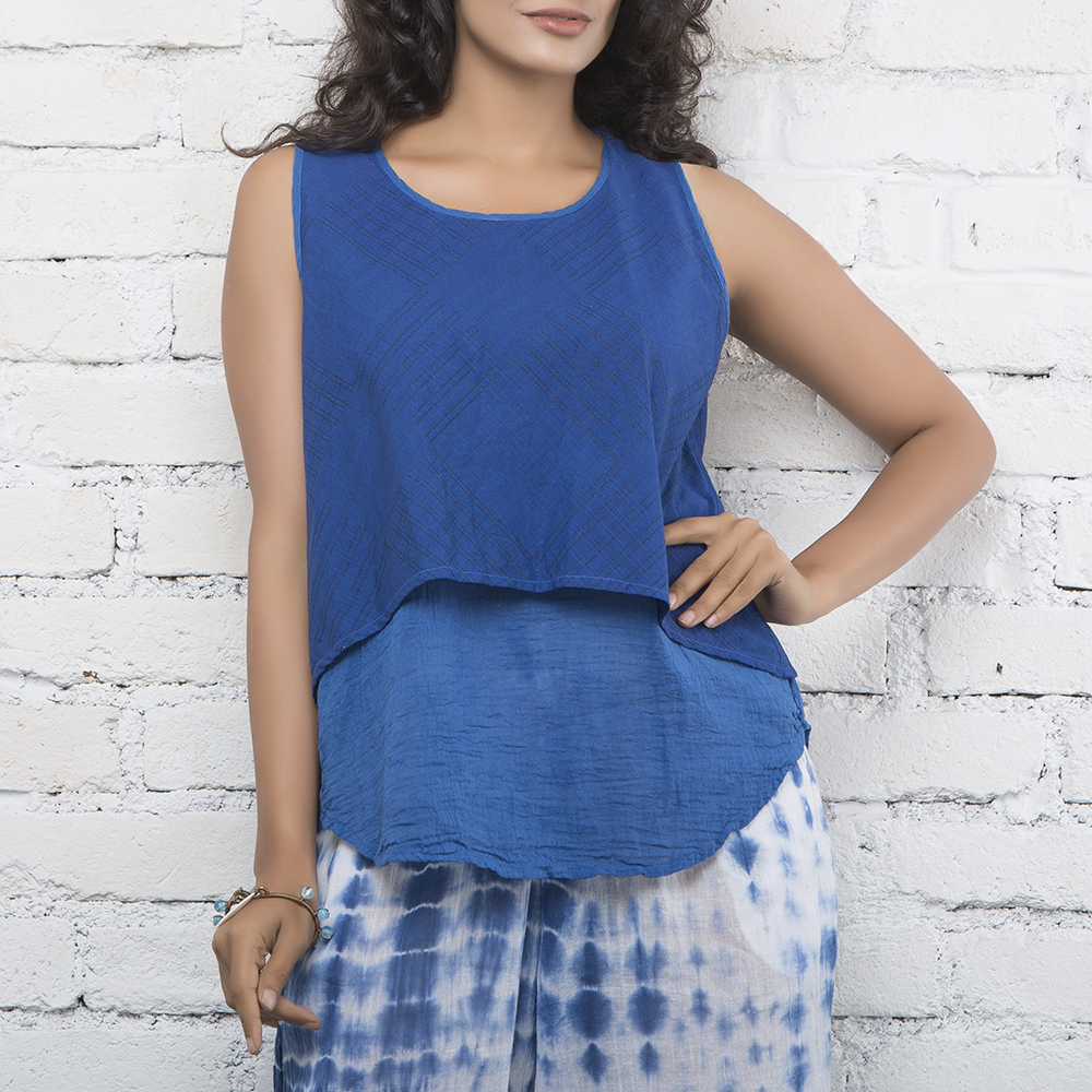 Indigo Layered Sleeveless Cotton Top