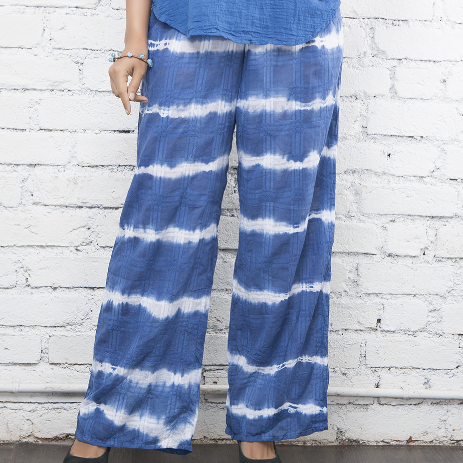 Indigo Striped Pallazo Pants