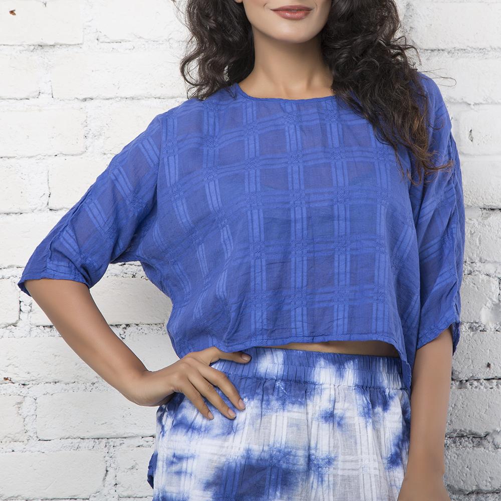Blue Textured Checks Cotton Top