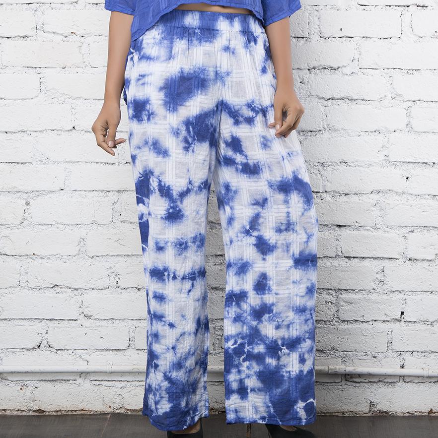 White & Blue Cotton Pallazo Pants