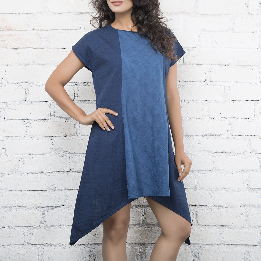 Vertical Patched Indigo Dress