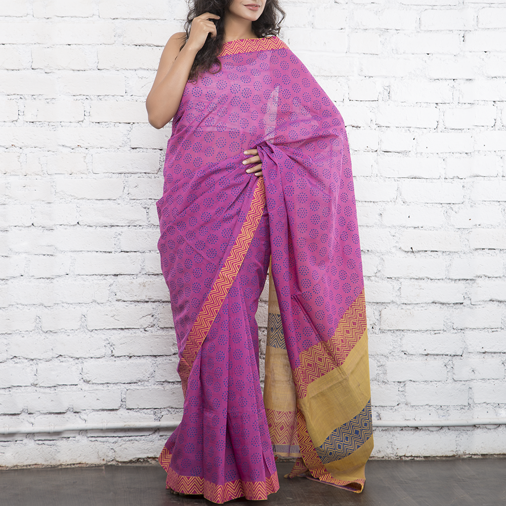 Warm Pink Handblockprinted Cotton Saree