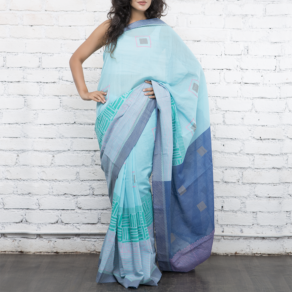 Blue Mal Handblockprinted Cotton Saree