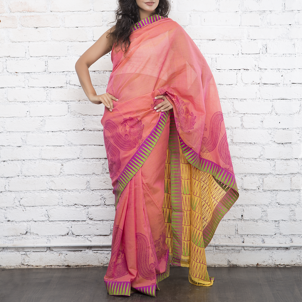Magenta Handblockprinted Cotton Saree