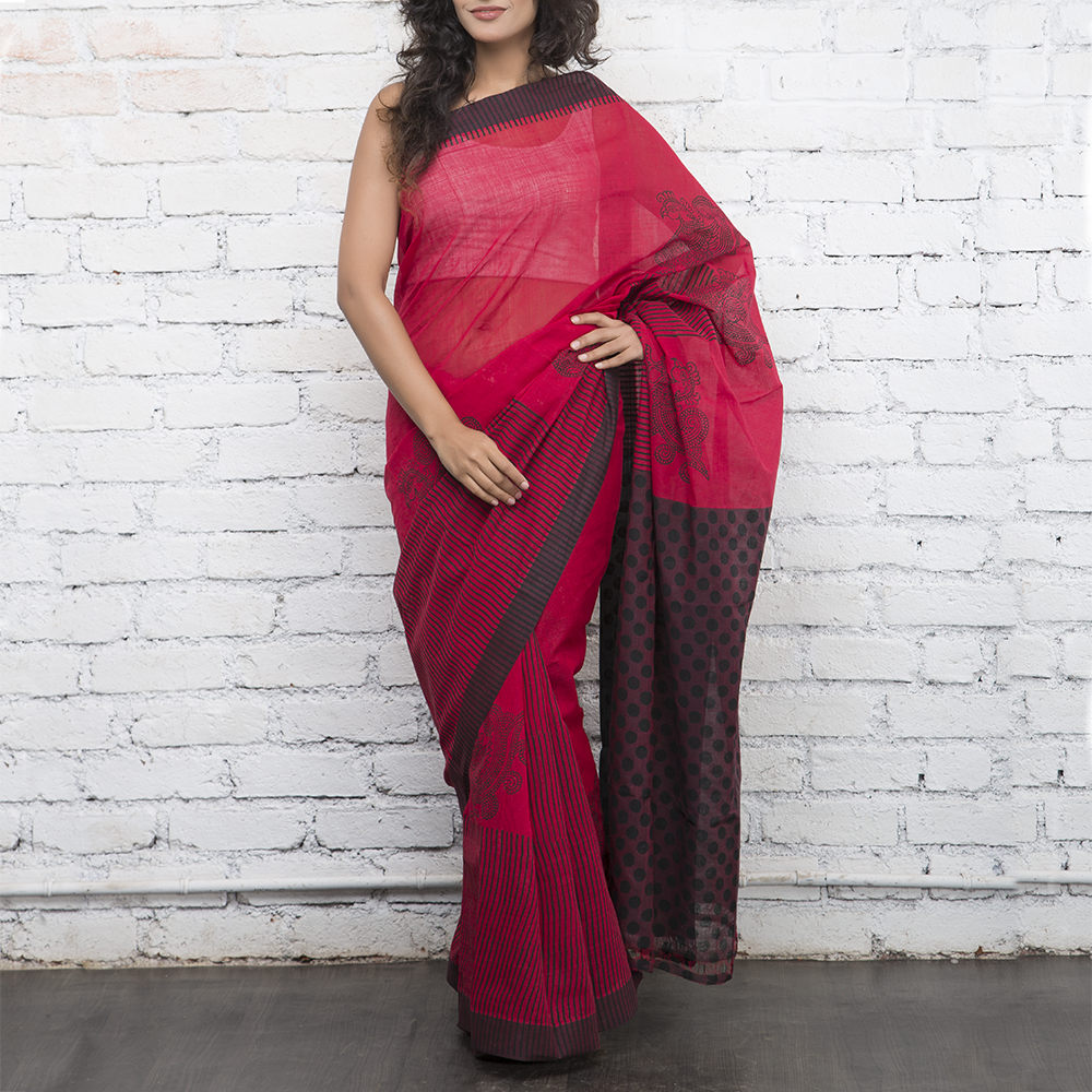 Red Handblockprinted Cotton Saree