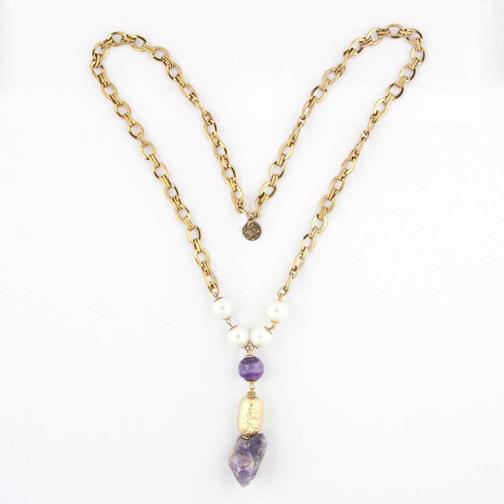 Long Purple Pendant Necklace