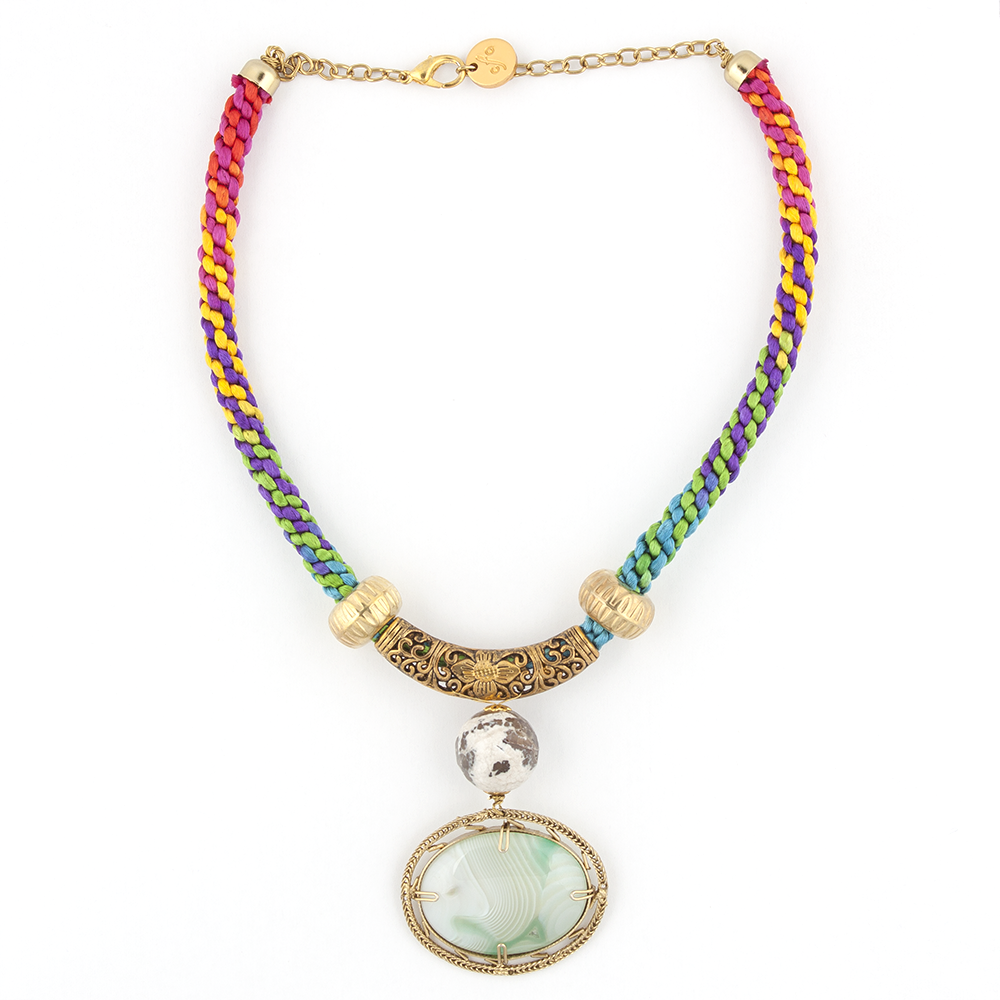Multicolored Handknotted Necklace