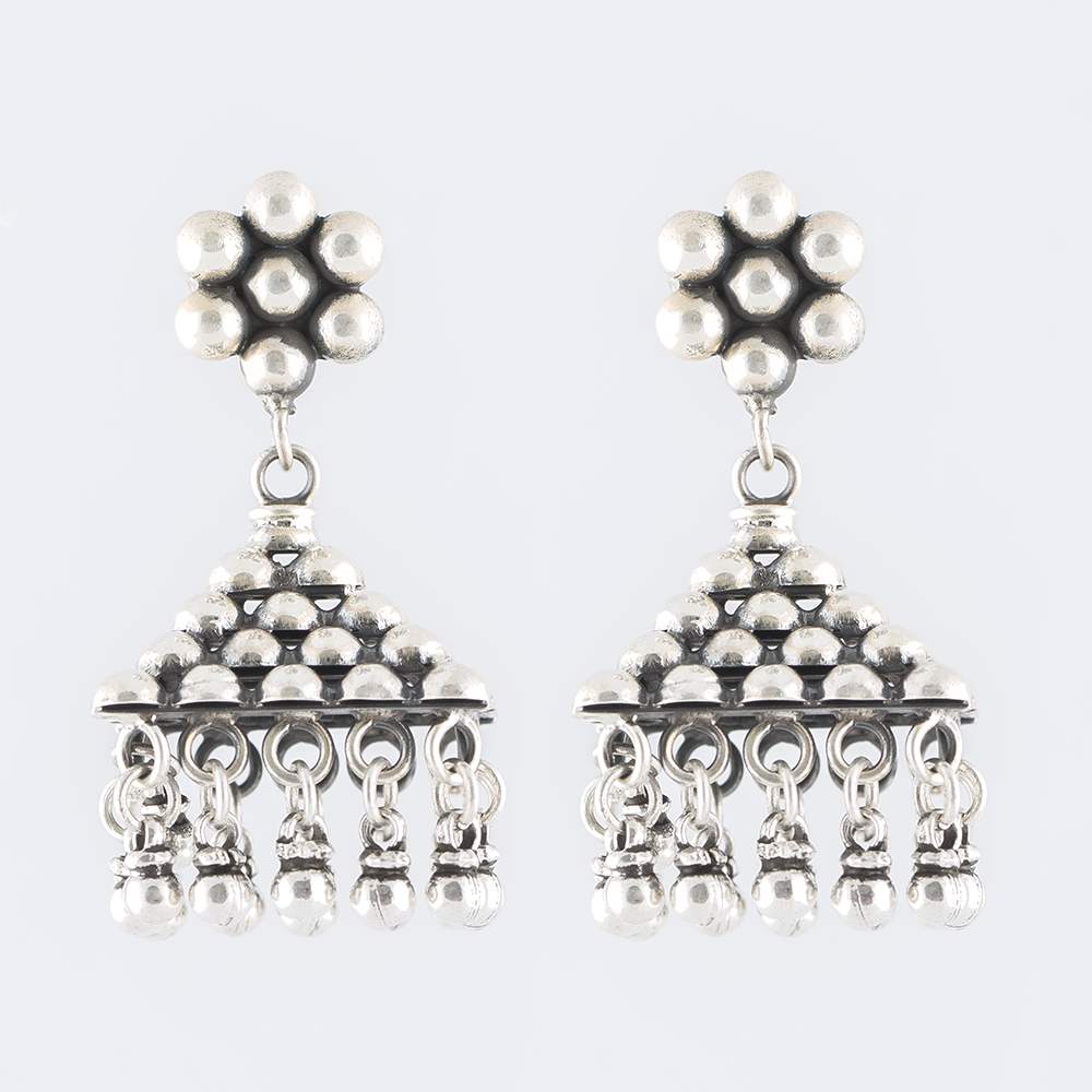 Triangular Silver Jhumka