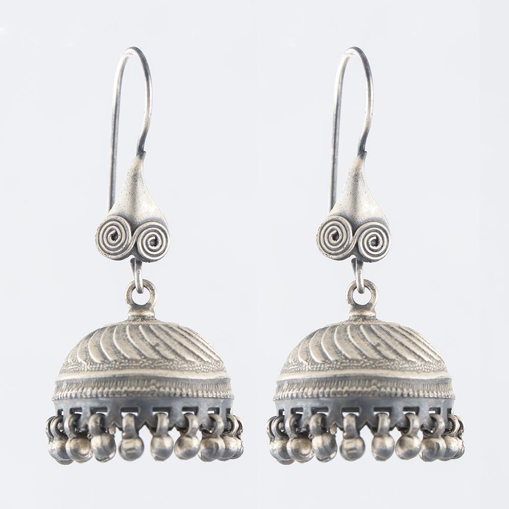 Ornamental Silver Jhumka