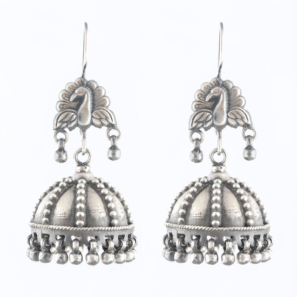 Peacock & Dots Silver Jhumka
