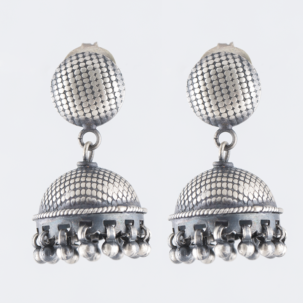 Striped Circluar Silver Jhumka