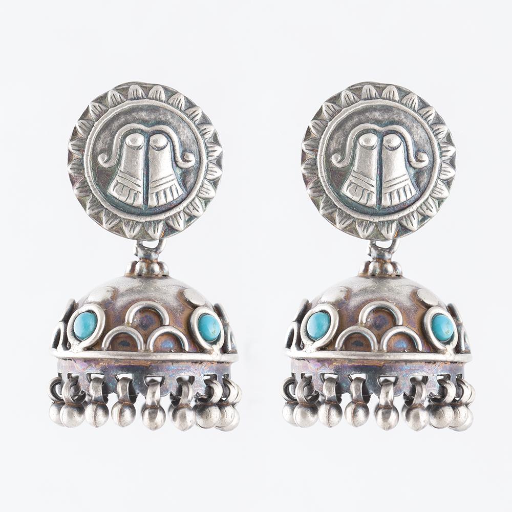 Paduka Turquoise Silver Jhumka