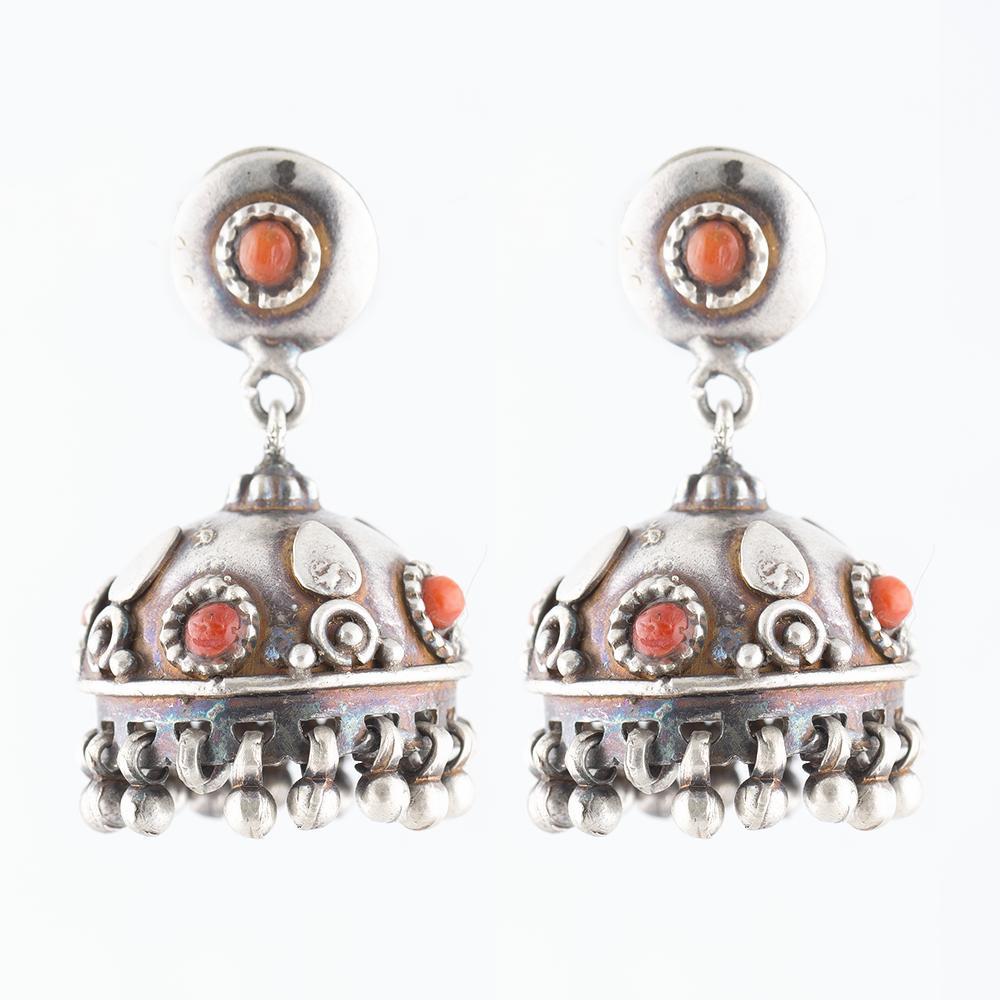 Coral Drop Silver Jhumka