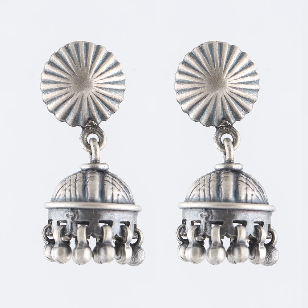 Coned Silver Jhumka