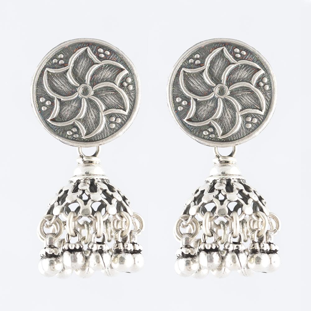Floral Drop Silver Jhumka