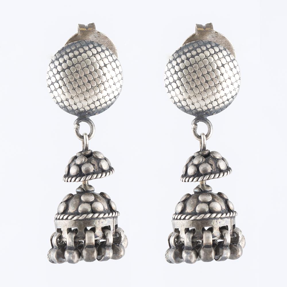Circular Drop Silver Jhumka